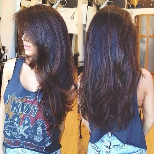 :: Sleek hair with a rocker t - perfect for a lazy sunday long layered hair