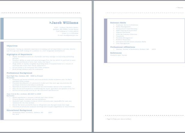125 best resume sample images on Pinterest Resume, Resume - bartender resume sample