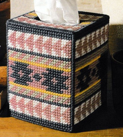 SOUTHWESTERN SPIRIT TISSUE BOX COVER. MAKE YOUR OWN BINDER OF GREAT PATTERN . PATTERN IS IN A CLEAR SHEET PROTECTOR READY TO BE PUT INTO A BINDER. SIZE: FITS BOUTIQUE STYLE TISSUE BOX. STITCHED USING 7 COUNT PLASTIC CANVAS. | eBay!