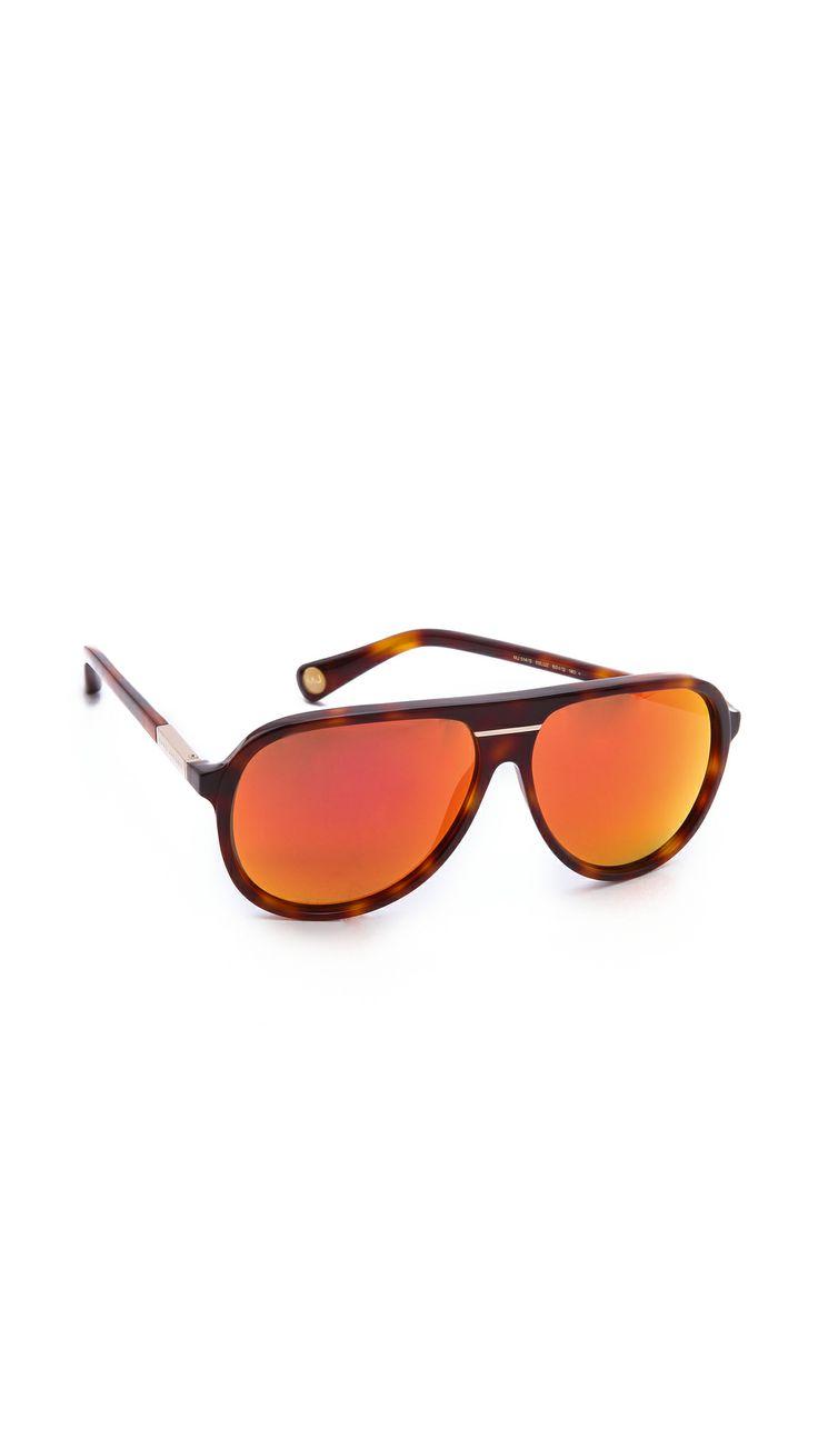 MARC JACOBS SUNGLASSES Mirrored Aviator Sunglasses in Havana/Red Mirror.