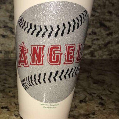 Glitter Anaheim Angels Baseball Team Personalized Starbucks Cups these Genuine 16 oz. Starbucks cups ( Other teams available per request ) for only $15.00