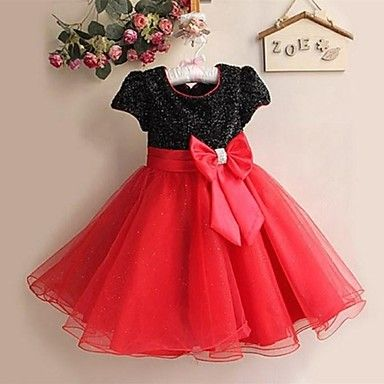 Flower Girl Dress Knee-length Satin/Tulle A-line/Princess Short Sleeve Dress – USD $ 29.99