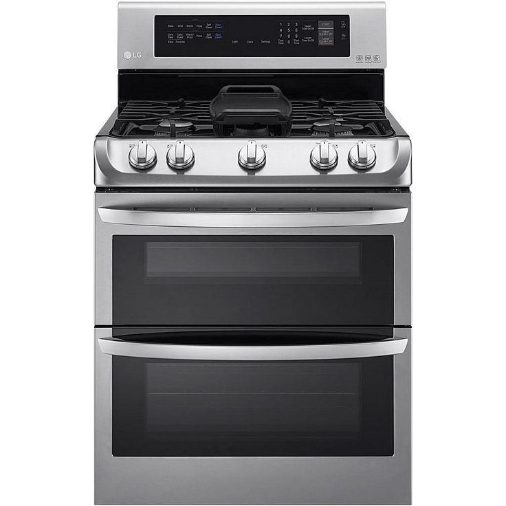 LG 6.3 Cu. Ft. Free-Standing Gas Double Oven with Griddle Plate - Stainless Steel