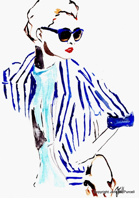 Fashion Illustration - sun glasses and stripped jackets
