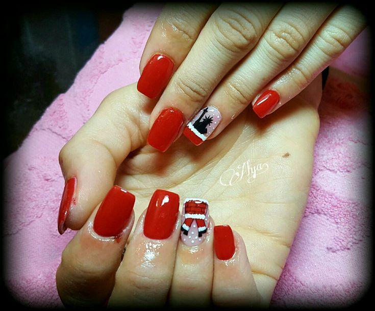 Christmas nails with santa