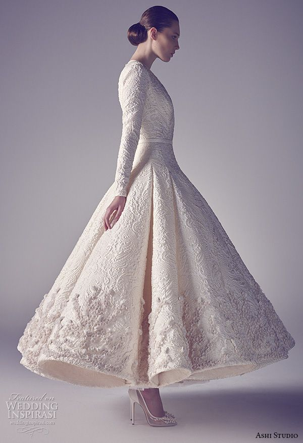 ashi studio couture 2015 long sleeves v neckline intricate embroideries flounce tea length wedding dress
