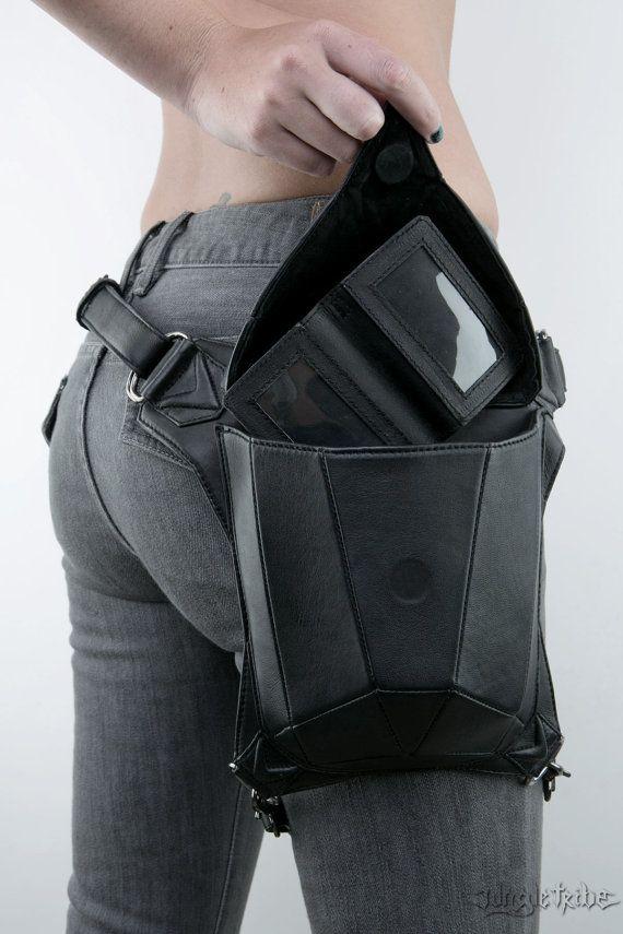 METRISCHEN Rabe schwarz Leder Holster Schulter Rucksack und Hüfttasche