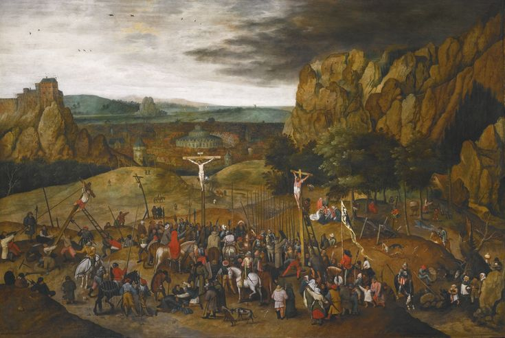 Pieter Brueghel the Younger BRUSSELS 1564 - 1637/8 ANTWERP CALVARY signed and dated lower left: P . BRVEGHEL .1615 . oil on oak panel 99.9 by 147.5 cm.; 39 3/8  by 58 in.