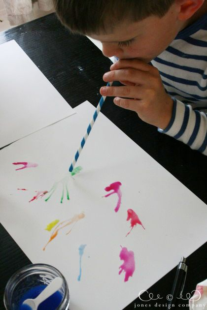 Straw painting - drop watered-down paint on paper and have kids blow it into shapes using a straw. Use Kool-Aid and water incase they suck some back up