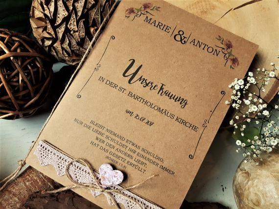 Kirchenheft Vintage Hochzeit Kraftpapier Programmheft Kirche Liederheft Liederbuch Gastgeschenke Jute Boho Flieder Place Card Holders Wedding Vintage