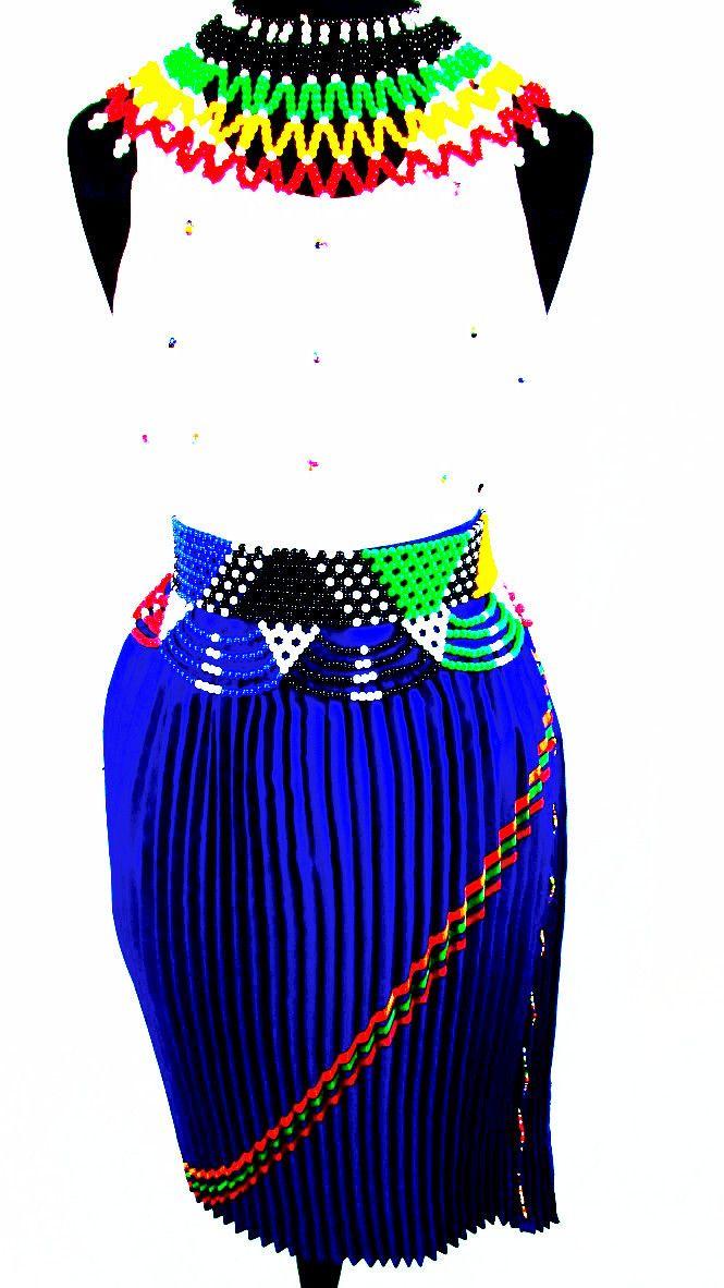South African Women's Zulu Attire in Royal Blue