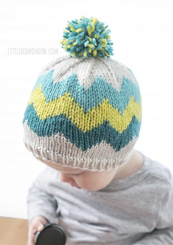 e0b10537437 Fair Isle Zig Zag Chevron Hat Knitting Pattern for newborns