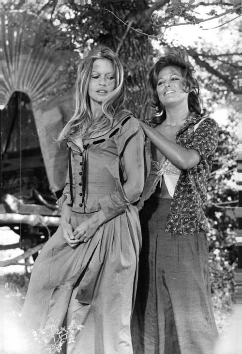 "Brigitte Bardot & Claudia Cardinale on the set of ""Les Pétroleuses"", 1971"