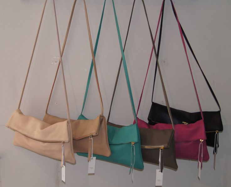 New summery colours for our Jamie Foldover Clutch with detachable strap.