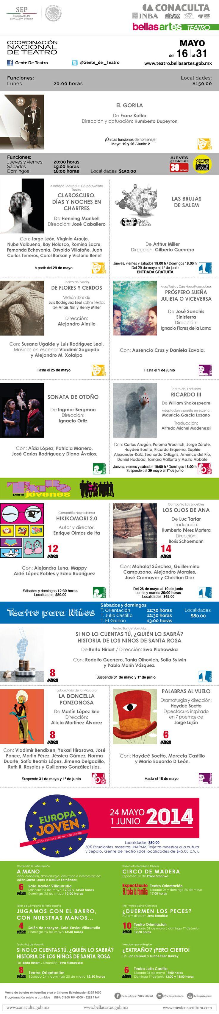 Programación #TeatroINBA del 16 al 31 de mayo