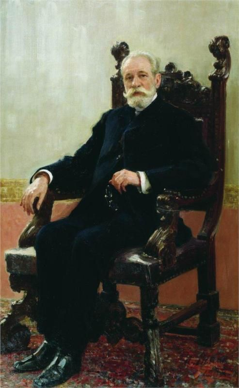 Portrait of the Chairman of the Azov-Don Commercial Bank in St. Petersburg, A.B. Nenttsel, 1908  Ilya Repin