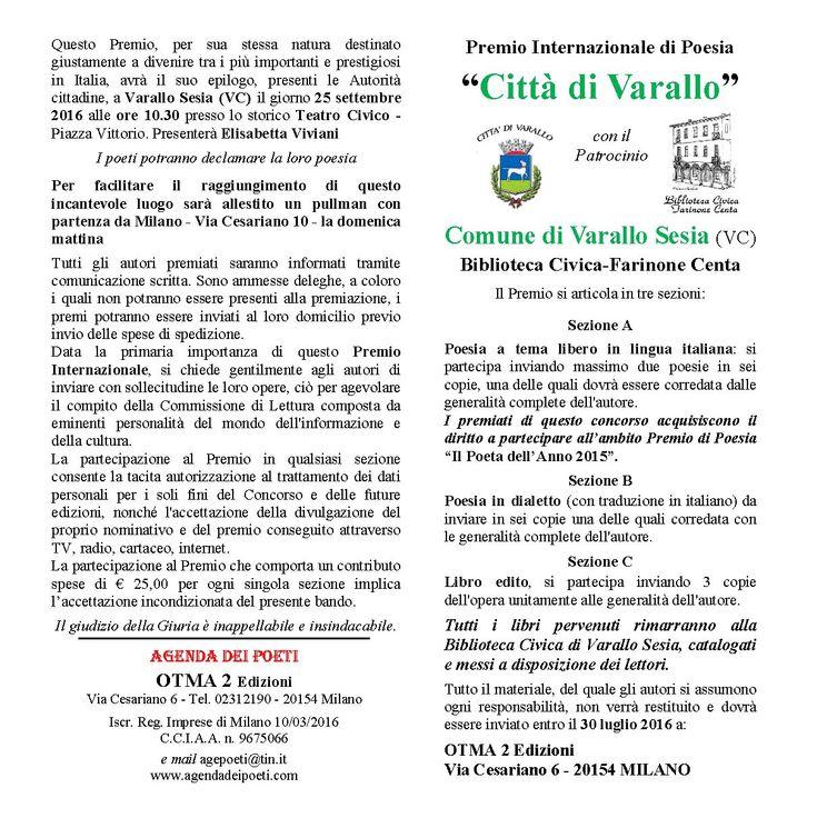 """Premio Internazionale di Poesia """"Città di Varallo"""" con il patrocinio del Comune di Varallo Sesia (VC) - Biblioteca Civica-Farinone Centa"""