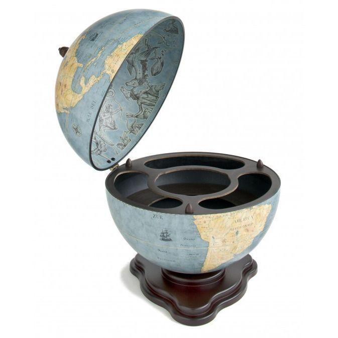 "Zoffoli ""Galileo"" Desk Globe Drinks Cabinet - Blue Dust"