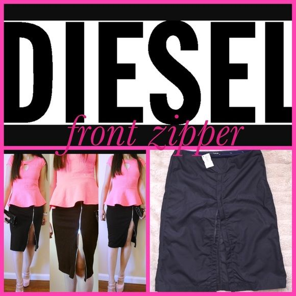 {Diesel} Black Double Front Zipper Skirt, Size 27 So sexy Diesel StyleLab Skirt that zips from the bottom to however high you want it. Has snap front closure and back has a functional zipper pocket . This is brand new with the tags on it . Retails for $175.00 get it here for $80. A great deal for the style value. #diesel, #dieselskirt, #dieselzipperfrontskirf Diesel Skirts Pencil