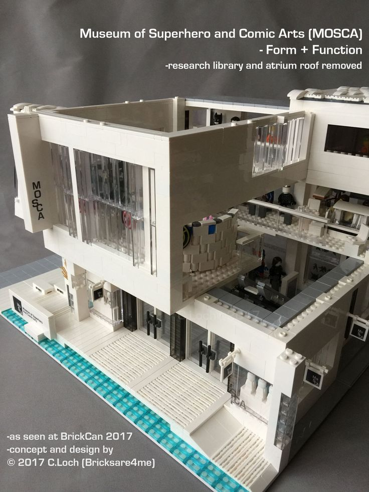 An original MOC built by AFOL © 2017 C.Loch (Bricksare4me) - front entrance with roof and library module removed. Blogged on https://www.archbrick.com/single-post/2017/05/05/MOSCA and interviewed at Lisaloveslego.com. #legobricks #moc #afol #modernarchitecture #photography #legobuildings #moderndesign #legomoc #museum #bricksare4me #superhero #comics #arts #architecturelego