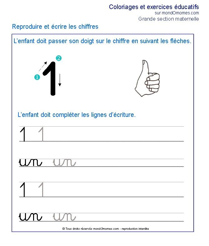 Exercice grande section maternelle Ecrire le chiffre 1 ...