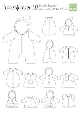 Firlefanz: Der Puppenjumper 2.0 Overall, Pulli, Jacke, Kleid, Schlafsack,... 25-50cm