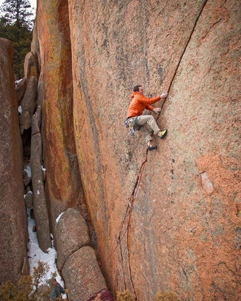 From @bradgobright | Climbing a South Platte splitter crack called Brothers in Arms a few years back in the middle of winter. My fingers were stiff and numb and that crack was sharp! Type 3 fun = not fun and wished I never climbed it. That's rare for me in climbing! I managed the flash after @codyscarpella got the onsight but those were some painful memories. I'm kind of a baby when it comes to the cold. @robkepley_photography took the pic . #timetoclimb #sportclimbing #climbing_pic..