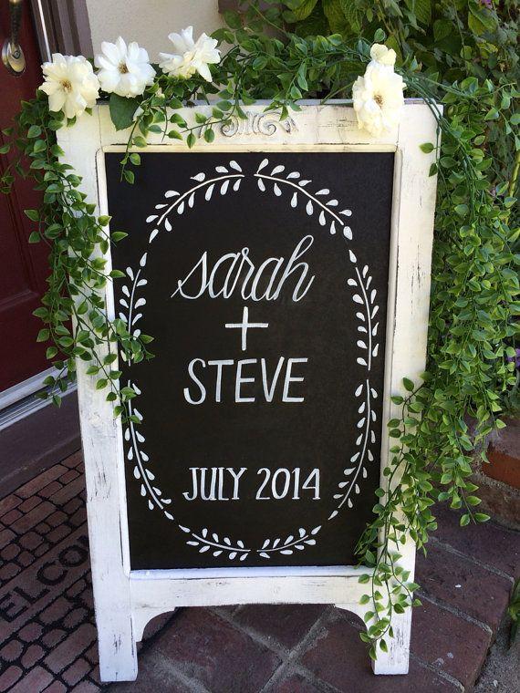 Tableau chevalet/mariage ardoise/tableau noir avec Stand/bébé douche anniversaire/Sign Chalkboard/Chalklettering/tableau noir ardoise