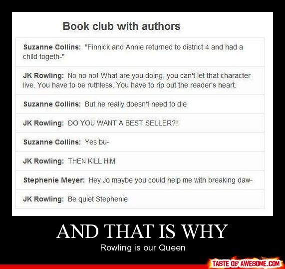 : Books Club, Harry Potter Death, Harry Potter Lol, Hunger Games Series, The Queen, Funny, Book Clubs, Harry Potter Sad, Finnick Death