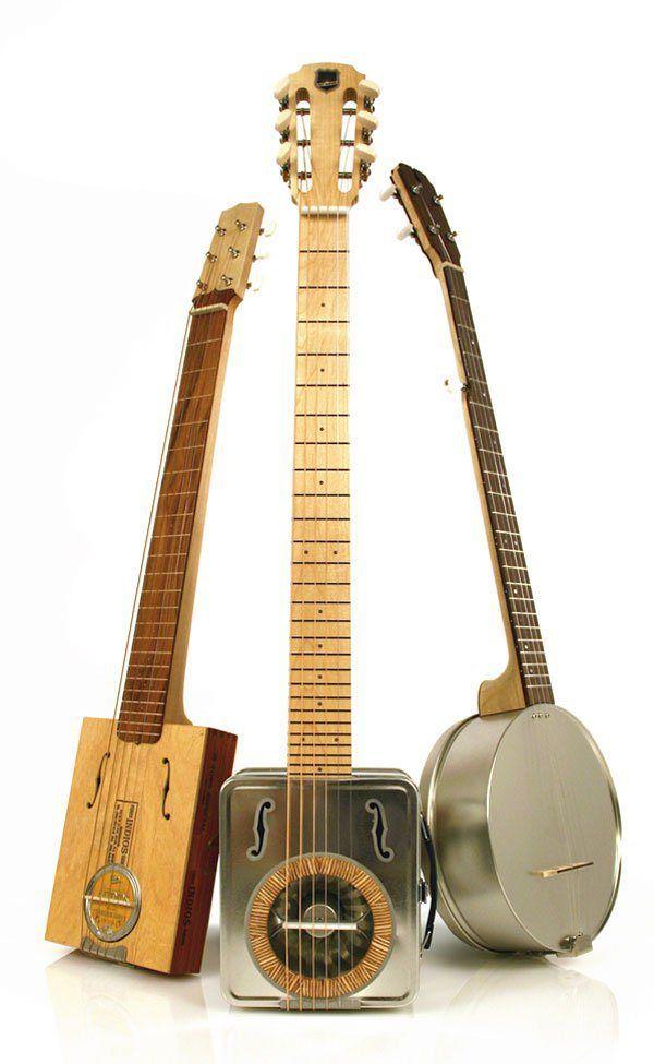 Cigar Box Guitar, Resonator Lunch Pail Guitar  and Biscuit Tin Banjo ~ https://www.pinterest.com/lardyfatboy/ ~