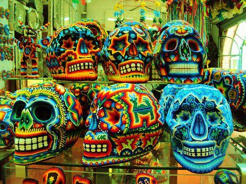 Mexico skulls - huichol style