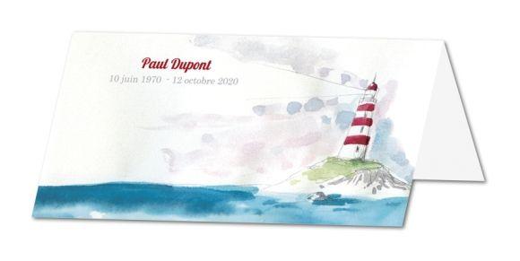 Carte de remerciement décès Phare et mer (TF-184)