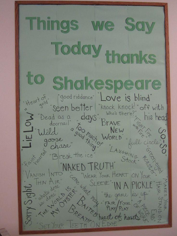 Classroom Decor Ideas For High School ~ Shakespeare bulletin board library boards