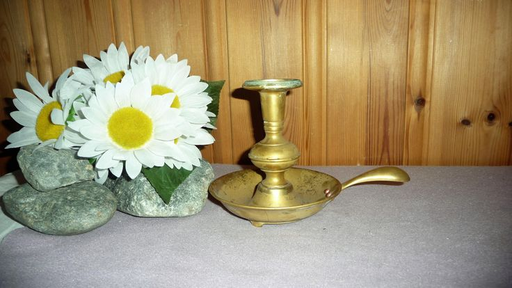 Antique Vintage Solid Heavy Brass Chamberstick Candle Holder Candle Stick Holder by Grandchildattic on Etsy
