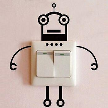 roboter schalter aufkleber