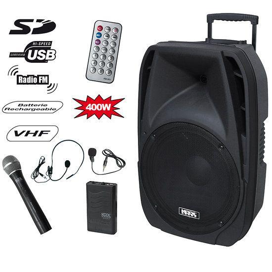 Enceinte amplifiée mobile et compact en ABS de Kool Sound d'une puissance totale de 400W ! Cette sono portable compacte est équipée d'un haut-parleur de 15 pouces à larges bandes, Port USB/SD/MMC avec fonction enregistrement + Tuner FM, fonctionne avec batterie rechargeable ou sur secteur 220V, livré avec 2 micros sans fil dont un serre tête ou lavallier avec bodypack. La Spacer 12 est idéale pour vos discours, sonorisation et tout événement musical !