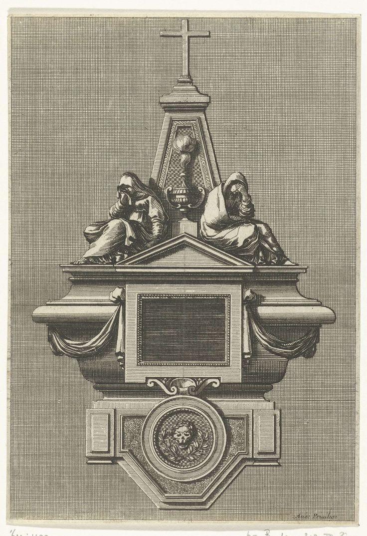 Jean Lepautre | Epitaaf in de vorm van doodskist, Jean Lepautre, c. 1651 | Op de kist zitten twee huilende vrouwen. Uit serie van 6 bladen met grafmonumenten.