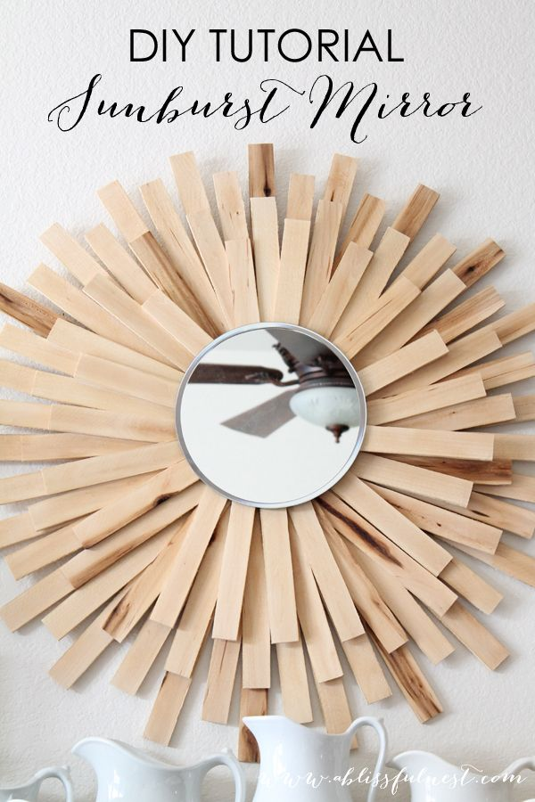 DIY Sunburst Mirror by A Blissful Nest using paint sticks. Super easy and costs less than $20. www.ablissfulnest.com
