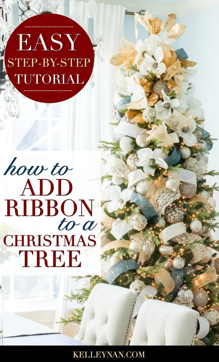 How To Decorate A Christmas Tree With Ribbon Kelley Nan Ribbon On Christmas Tree Skinny Christmas Tree Christmas Tree Decorations Ribbon