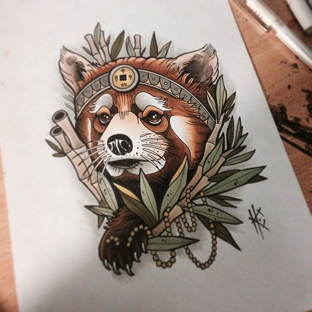 Red panda tattoo.