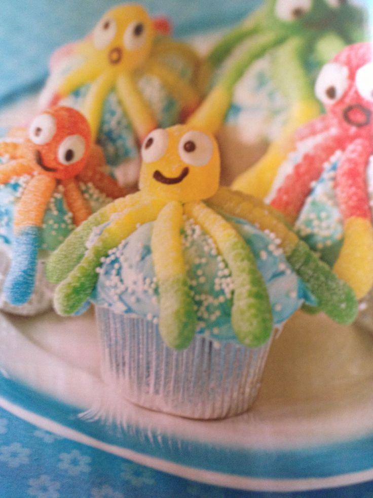 Octopus cupcakes - gummy worms & gumdrops