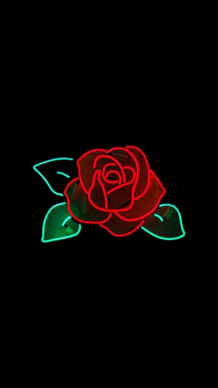 Black Wallpaper Neon Rose