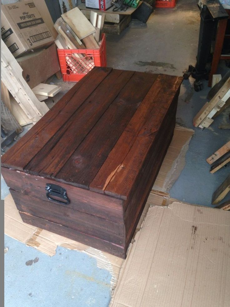 This is a blanket chest i made out of %100 recycled pallet wood I cut and  took all the  nails out of all the pieces  Then i sanded and stained and added the ha…