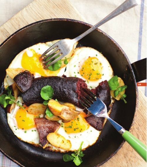 """Grilled Black Pudding with Eggs. It's from Shaun Rankin's recipe book """"Seasoned Islands"""""""