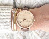 Montre bois, cerise bois montre en or Rose, Brown Leather Strap - HELM-CR