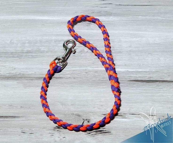 2' - Standard Paracord Dog leash - 4 strands - Stainless steel swivel bolt snap - Heavy Duty - Neon orange and Purple