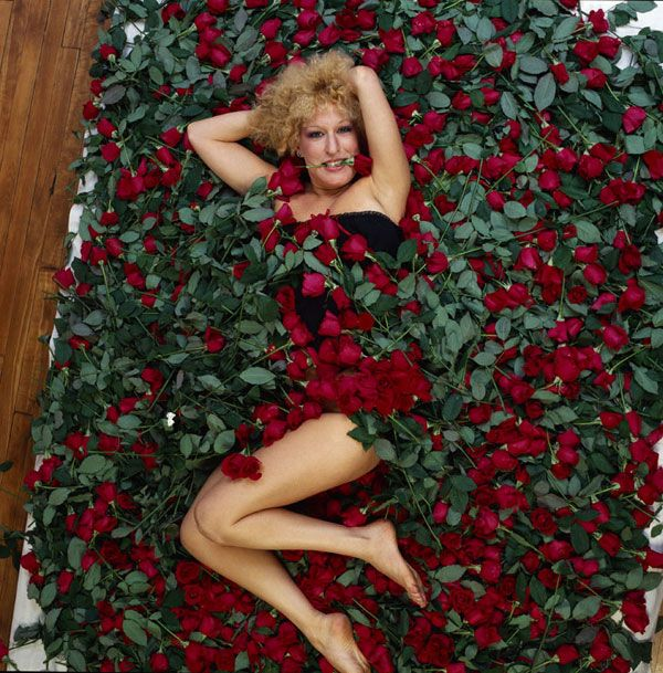 Bette Midler in a bed of roses by Annie Leibovitz