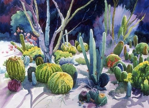 "Louise Wyant  Barrels of Cactus  Watercolor - 28"" x 36"""