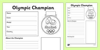 The Olympics Champion Fact File Activity Sheet - the olympics, rio olympics, rio 2016, 2016 olympics, fact file, champion, activity