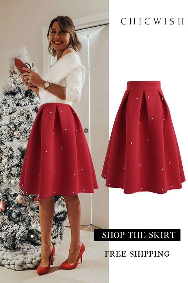 4fca6c03e9 Up to 30% Off. Pearls Bliss Airy Pleated Midi Skirt featured by  cristinasurdu. #casualoutfit #womenoutfit #womenfashion #skirt #skirt  #midiskirt #redskirt ...